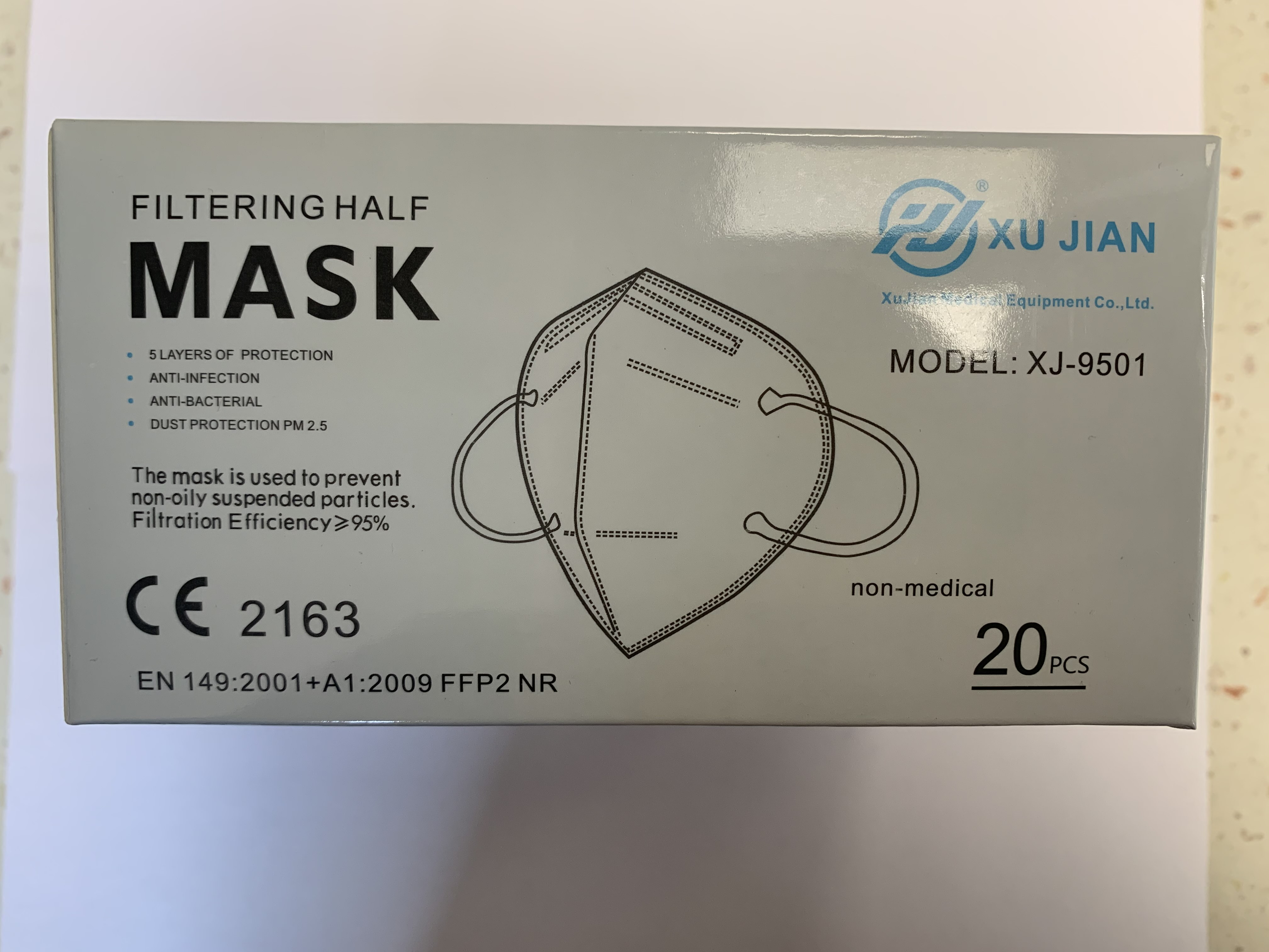 FILTERING HALF MASK XJ-9501 CE 2163 1ks FFP2
